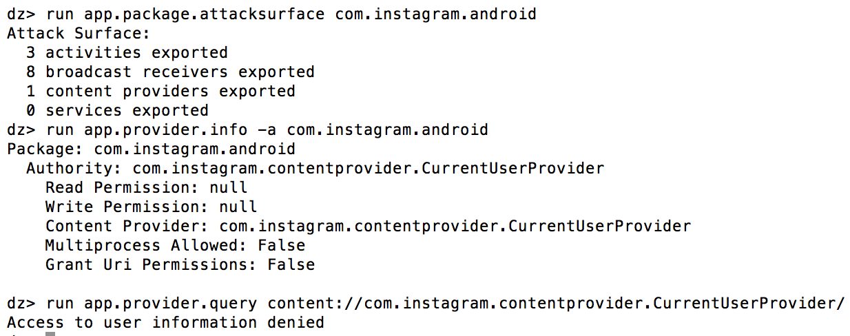 Drozer Instagram Exported Content Provider - Access Denied